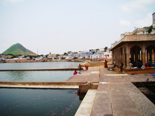 Ghat or Bathing area in the lake