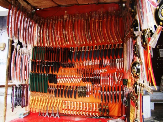 Ornamental Rajasthani swords on sale at Puskar