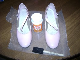 Shoes with a coat of Modge Podge