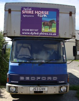 Day out: A truck at Dyfed Shire Horse Farm in Pembrokeshire, Wales