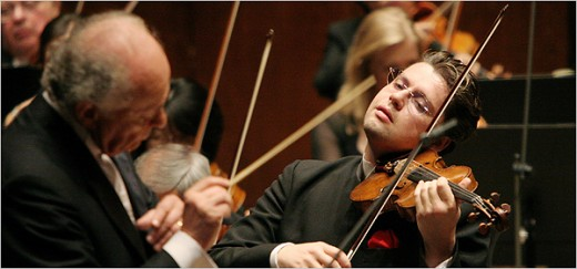The violinist Julian Rachlin performing Thursday with the New York Philharmonic, led by Lorin Maazel.