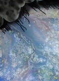 Painting created jointly by Kyle Maier and Eric Stahl, using a mixture of paint pouring, spray paints and stencils.