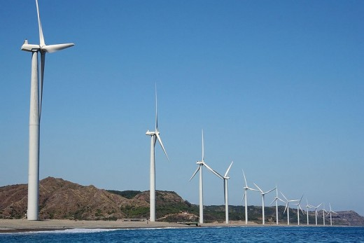 Bangui Wind Farm, Ilocos Norte, Philippines. The wind farm uses 20 units of 70-meter high VestasV82-1.65MW wind turbines, arranged on a single row stretching along a nine-kilometer shoreline off Bangui Bay, facing the South China Sea via Wikipedia