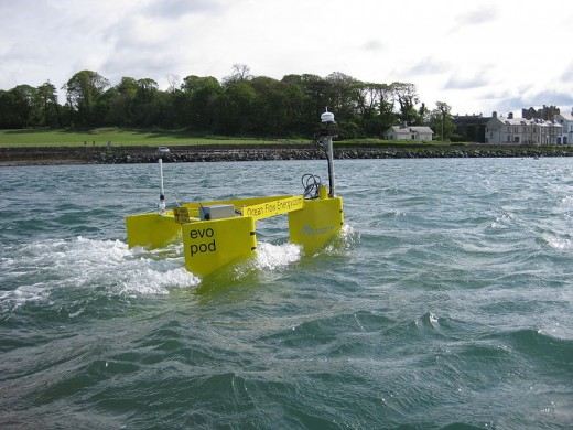 Evopod is a semi-submerged, floating, tethered tidal energy capture device. It uses a simple but effective mooring system that allows the free floating device to maintain optimum heading into the tidal stream (source: oceanflowenergy.com)