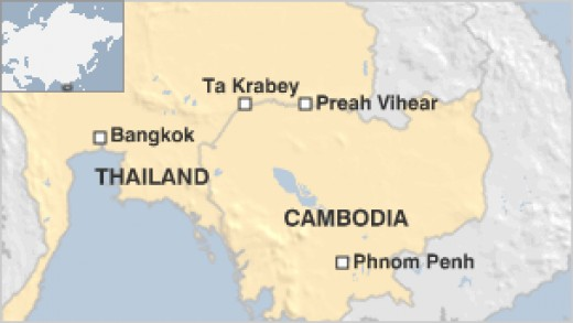 A recent conflict has made news between Thailand and Cambodia over a border dispute. Preah Vihear (translated to Tranquil temple) is at center of conflict.