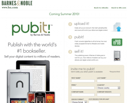 The PubIt! standard homepage. Sign-up and join PubIt! to publish your book!