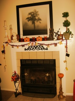 Hearth decorated for Halloween.