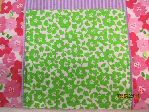 Photo B Shows Green Rectangle Folded And Sewn To Large Pocket