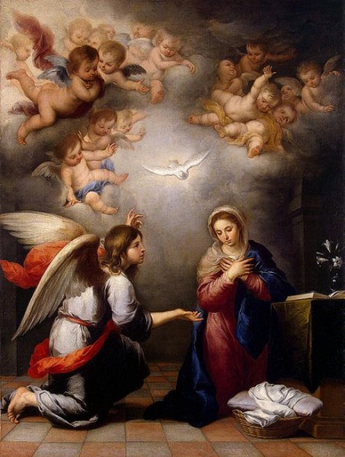 """The Annunciation"" - by Bartolom Esteban Perez Murillo (1655) The Hermitage  St. Petersburg"