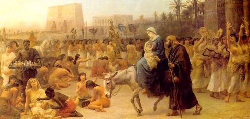 "The Flight into Egypt - ""Anno Domini"" - by British Orientalist artist Edwin Long (1883)"