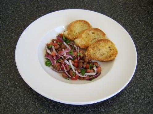 This borlotti bean salad recipe is delicious served with bruschetta