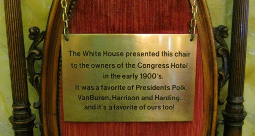 The chair sits in main lobby of the hotel.