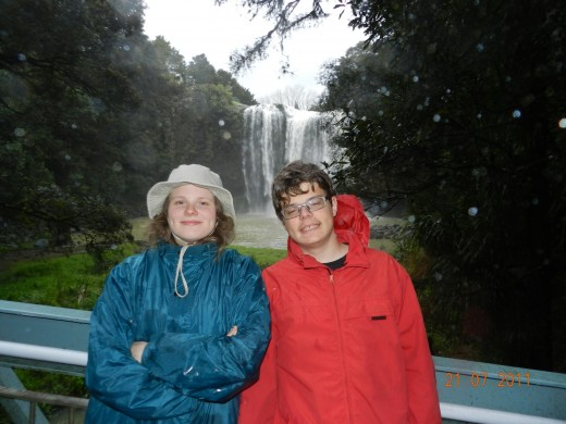 Gisela & Christopher, wet but happy as they visit the waterfall!