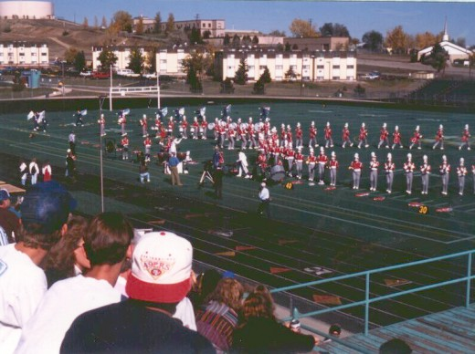 The Band Marching a Half-Time Show