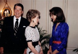 Ronald Reagan with Nancy Reagan and Jackie Kennedy - 1985
