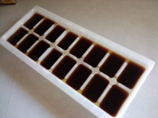 Coffee in the ice cube tray