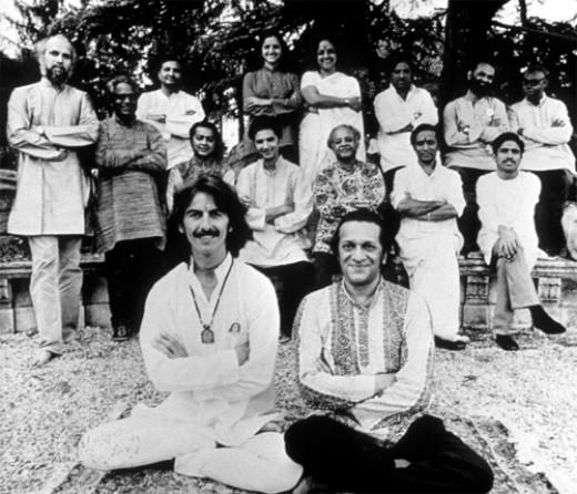 George Harrison (left) and Ravi Shankar