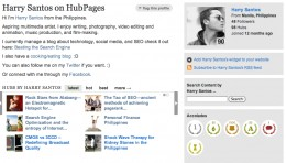 My HubPages profile showing my accolade of being a member for 1 year now