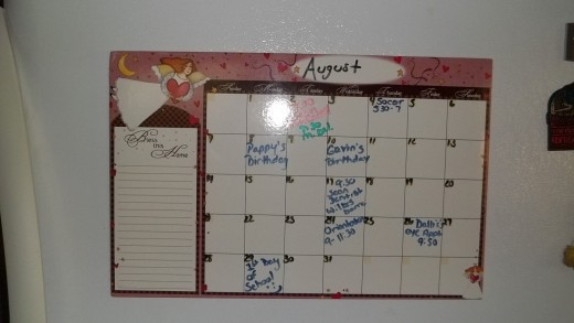 Dry Erase Calendar/Current Month