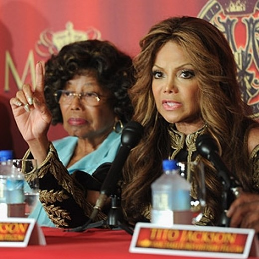 Latoya with her mother at a press conference announcing a planned tribute concert for her Late brother Michael who died two years ago from massive drug overdose. The concert is scheduled to take place in October 2011.