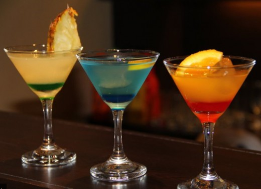 First to your left is the Blue Lagoon, followed by Ocean Breeze and Red Temptation.