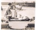 Dad and me, with sister in pram at Blackpool