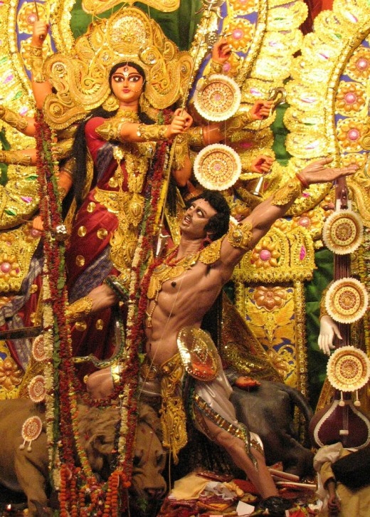 Tragic end of demon-King Mahishasur. For more photos , please view przmm.blogspot.com. Creation by : Mohan Banshi RudraPal