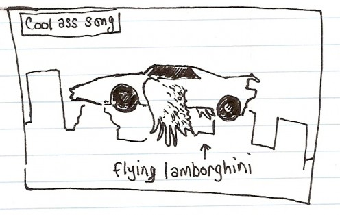 cool ass song flying lamborghini wings rainman movie sketch drawing