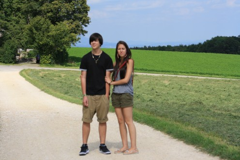 Walking Trail in The Hills of Prêles, Biel, Switzerland - my son and daughter