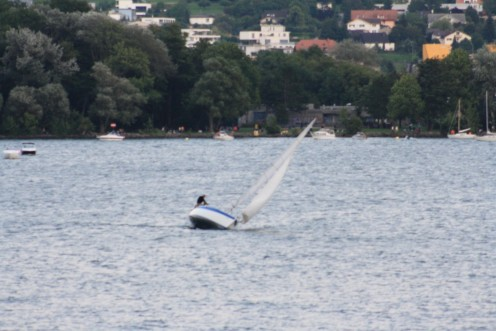 Segelboat in lake Biel, Switzerland