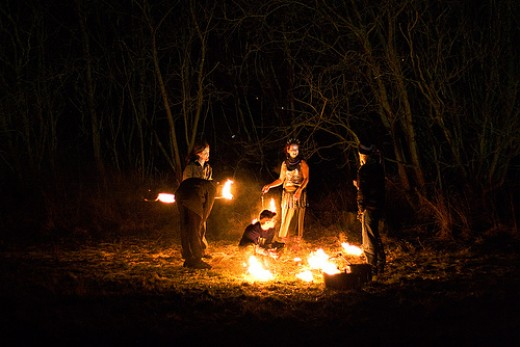 A bonfire is appropriate for all sabbat celebrations as it is sympathetic to the sun's light.