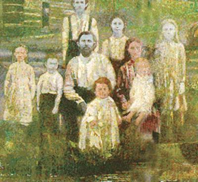A sketch of Martin Fugate and his family, in Troublesome Creek, KY.