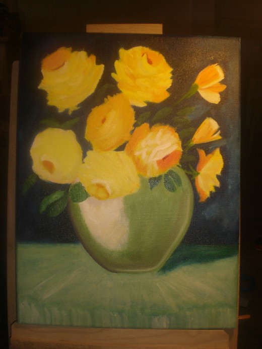 Vase with yellow rose (in process)