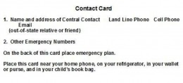 Example of a Contact Card for Family Disaster Plan