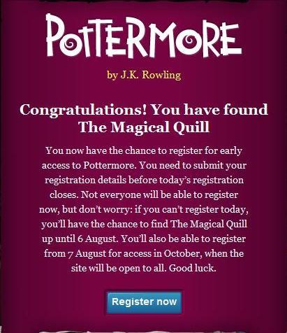 Register for Pottermore!