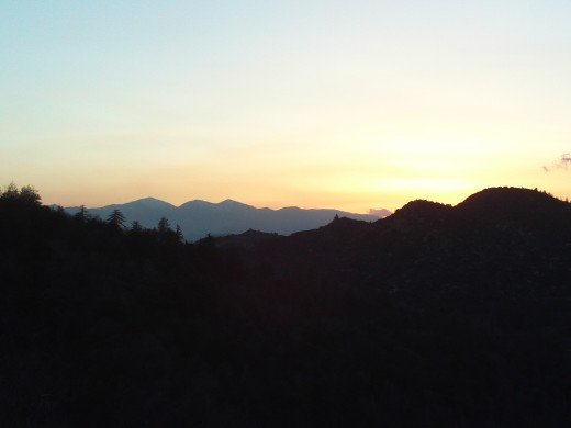 The outline of Mount Baldy as seen from the San Bernardino Mountains.