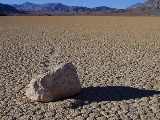 "A typical Death Valley ""Sailing Stone"" and it's Track"