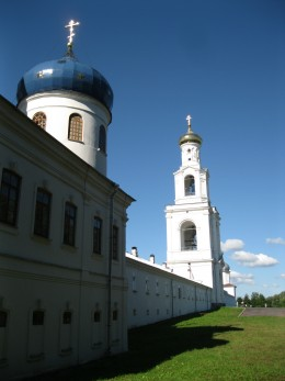 Bell tower over entrance to St. George Monastery in Veliky Novgorod, Russia