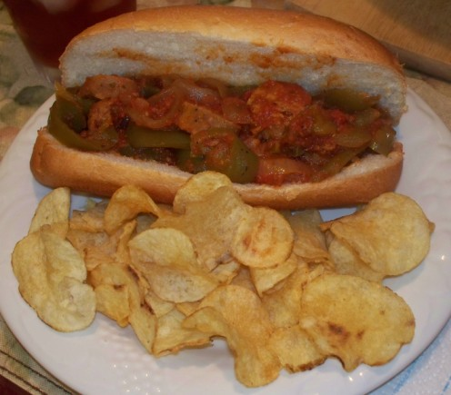 sausage and peppers sandwich and chips