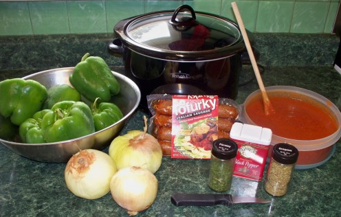 crock pot sausage and peppers ingredients