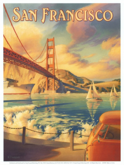 Vintage poster art of the San Francisco bridge.