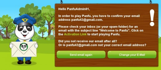 A confirmation email is required in order to join the PanFu world.