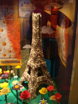 The Eiffel Tower made of white crayons.