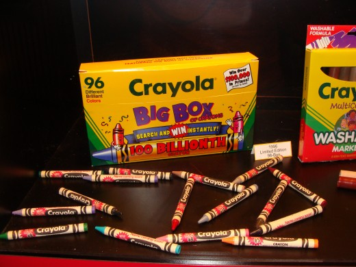 The number of colors in a crayon box just keeps growing!  In 1996 Crayola molded the 100 billionth crayon.  It was molded by Mister Rogers and the box that held the crayon was worth $100,000.