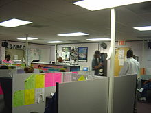 This is what a rather nice telemarketing call center (or any nice call center) looks like on the inside. Harsh florescent lights and little to now space. I have worked in worse places over the years. Some of them where for Fortune 500 companies.