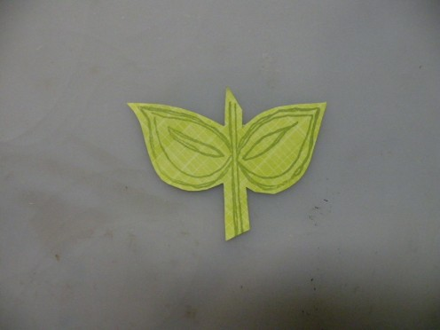 Green cardstock stamped w/Leaf and Stem
