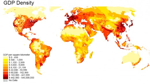GDP Density world map in red yellow and orange