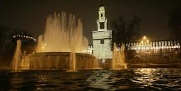 Sfora Castle at night
