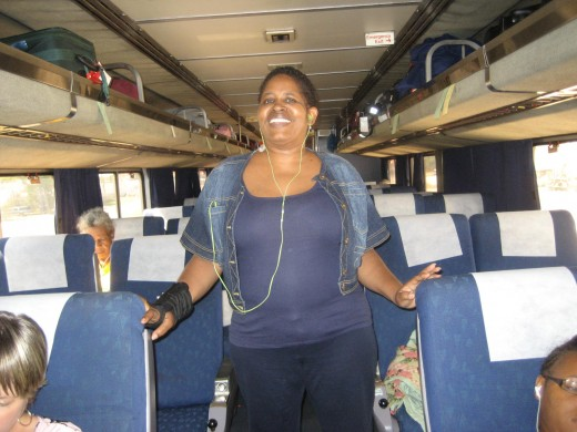 A very fun lady, Leatha, train on the way to Texas