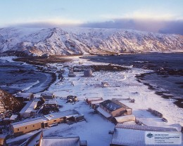 MacQuarie Island Isthmus under snow.  My home for twelve months from Oct 1976-77.